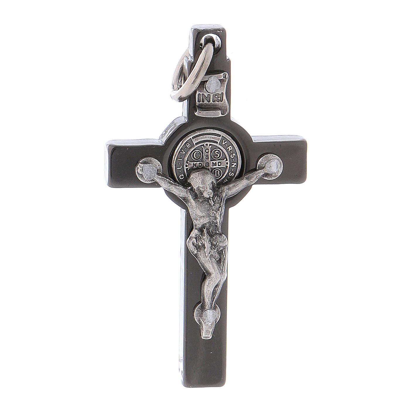 Croce acciaio nero 4x2 cm San Benedetto 4