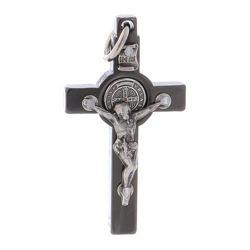 Croce acciaio nero 4x2 cm San Benedetto 1