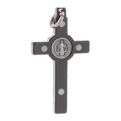 Croce acciaio nero 4x2 cm San Benedetto 2