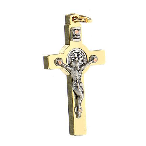 Kreuz von Sankt Benedikt aus vergoldetem Stahl, 4 x 2 cm