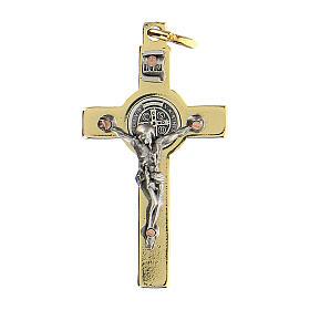 Croce in acciaio dorato 4x2 cm San Benedetto