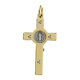 Croce in acciaio dorato 4x2 cm San Benedetto s3