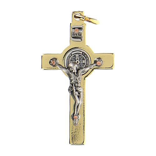 Croce in acciaio dorato 4x2 cm San Benedetto 1