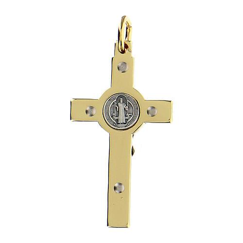 Croce in acciaio dorato 4x2 cm San Benedetto 3
