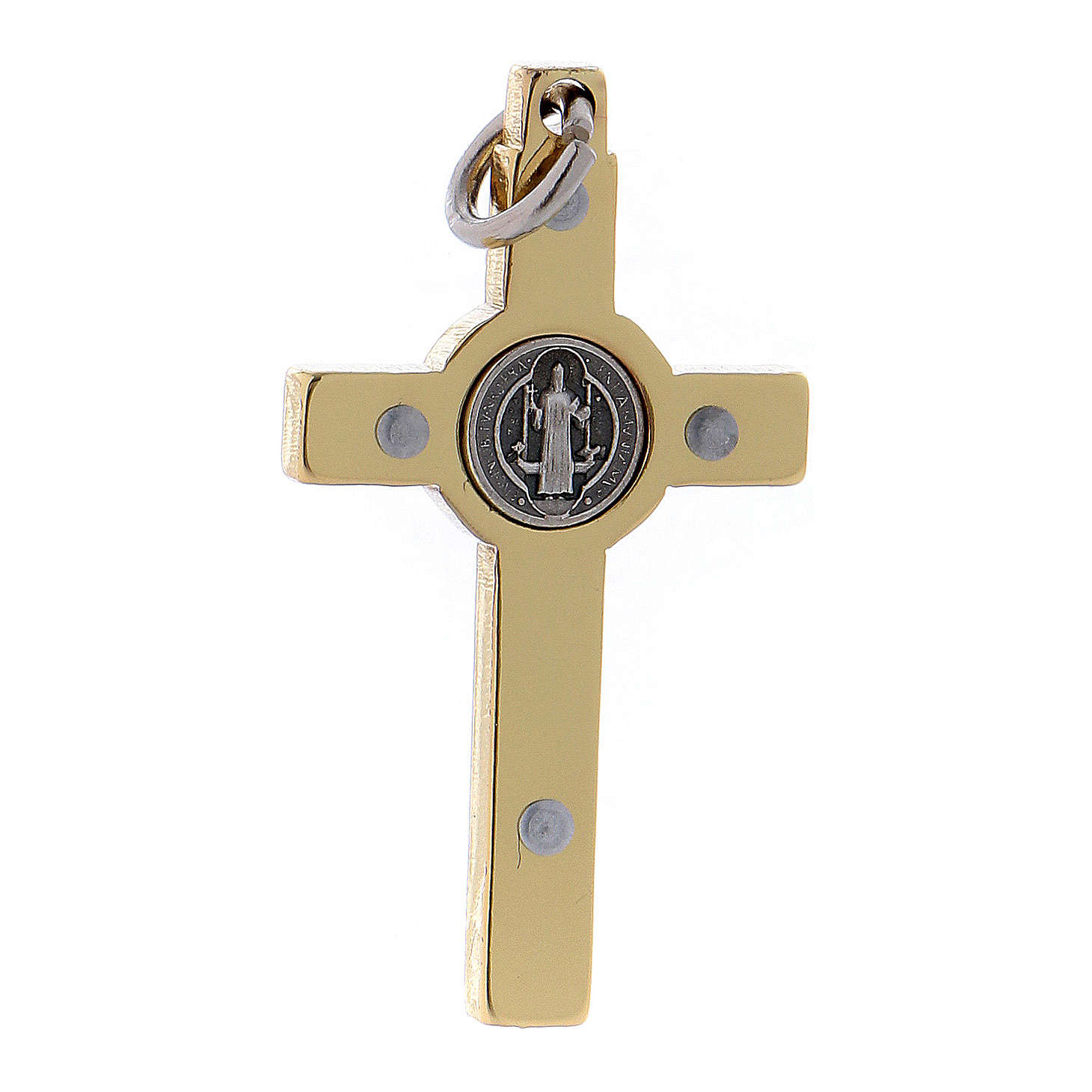 Cross of St. Benedict in gold-plated steel 4x2 cm 4