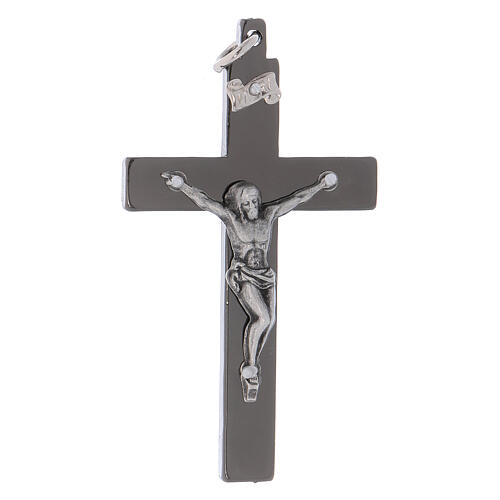 Glattes Kreuz von Sankt Benedikt aus Stahl mit schwarzen Verchromungen, 6 x 3 cm
