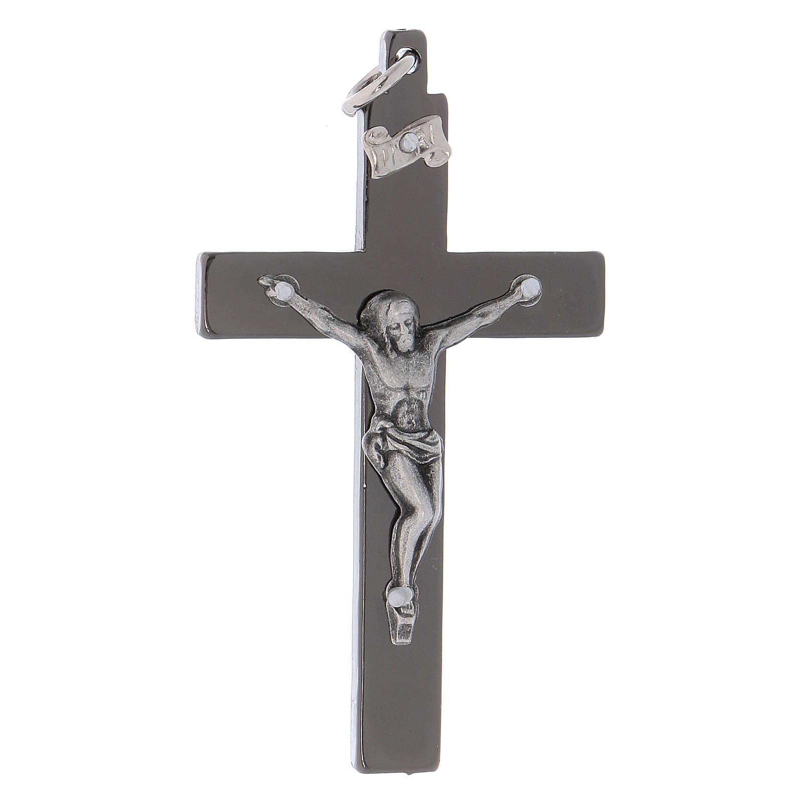 Croce di San Benedetto in acciaio liscia 6x3 cm cromo nero  4