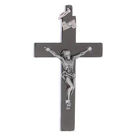 Croce di San Benedetto in acciaio liscia 6x3 cm cromo nero  s1