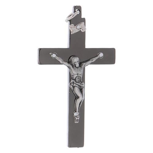 Croce di San Benedetto in acciaio liscia 6x3 cm cromo nero  1