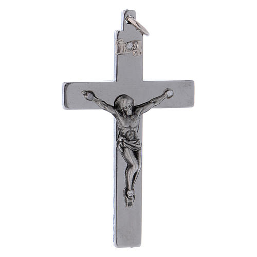 Cross of St. Benedict in smooth steel with glossy chrome 6x3 cm 1