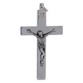 Croce di San Benedetto in acciaio liscia 6x3 cm cromo lucido