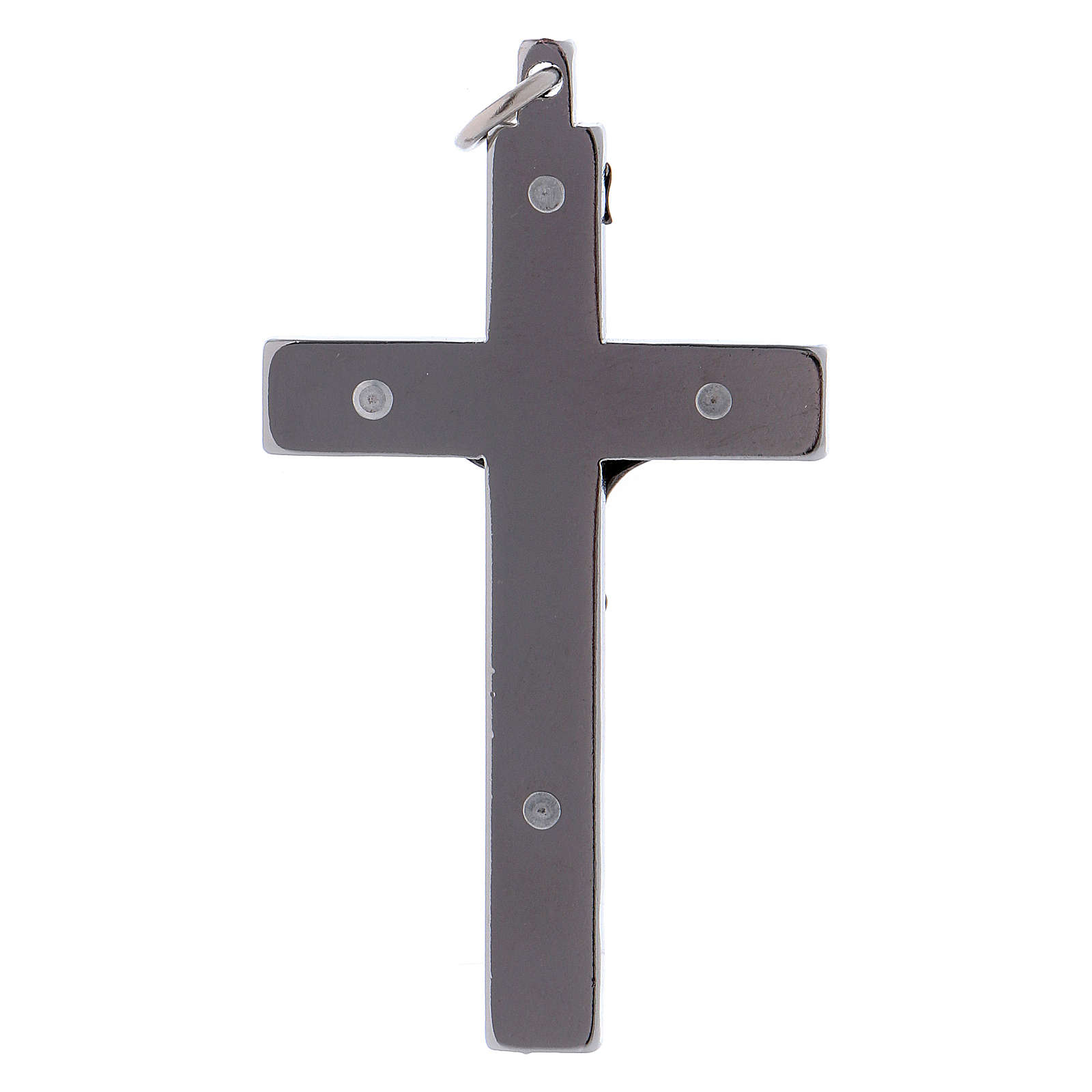 Cross of St. Benedict, in smooth steel 6x3 cm shiny chrome 4