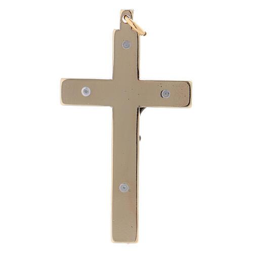 Glattes Kreuz von Sankt Benedikt aus Stahl mit vergoldeten Verchromungen, 6 x 3 cm