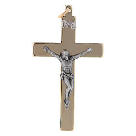 Cross of St. Benedict in smooth steel with golden chrome 6x3 cm
