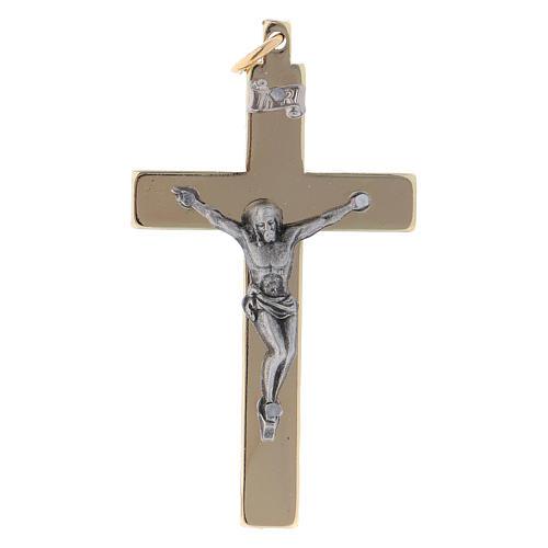 Cruz de acero de San Benito lisa 6x3 cm cromo oro 1