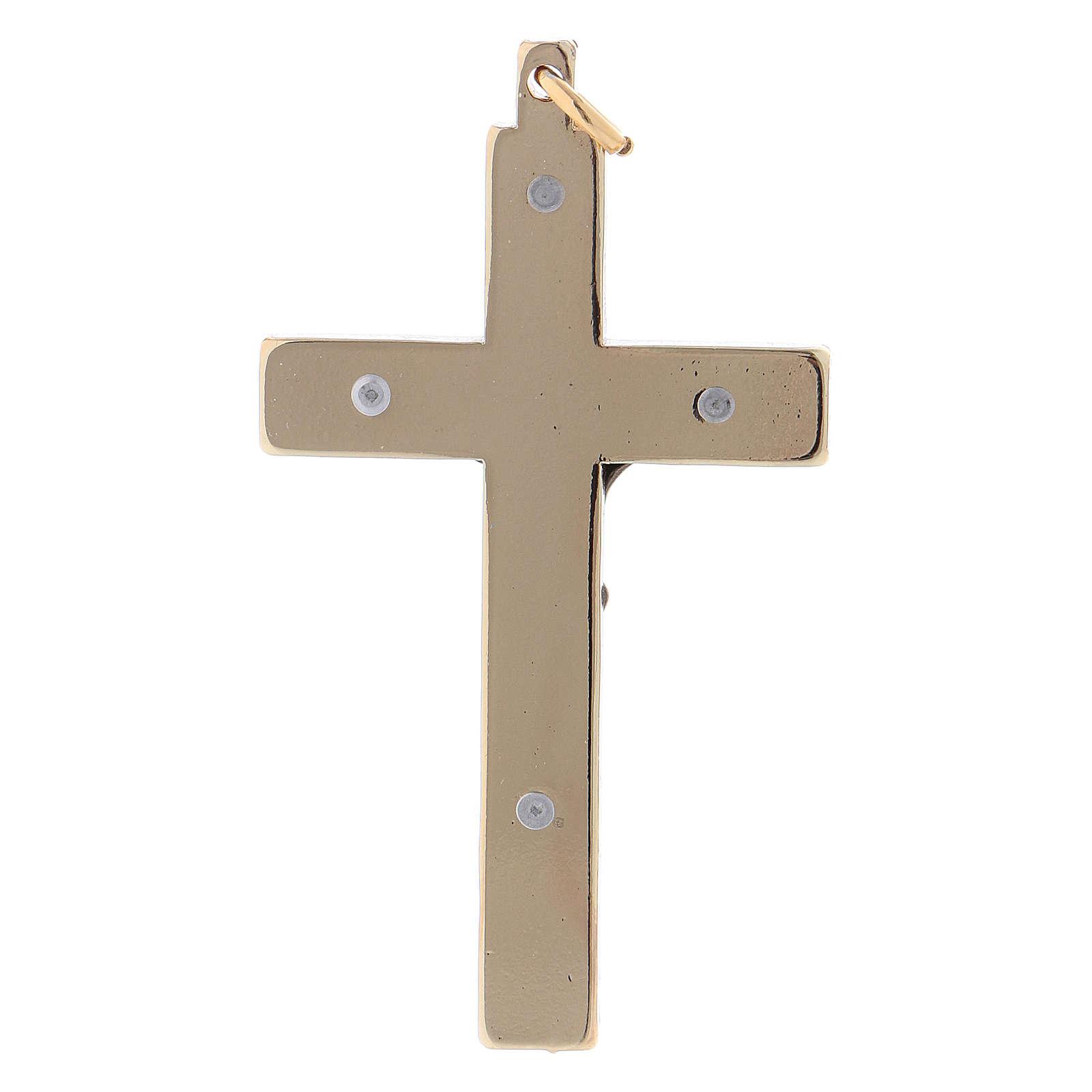 Croce in acciaio di San Benedetto liscia 6x3 cm cromo oro 4