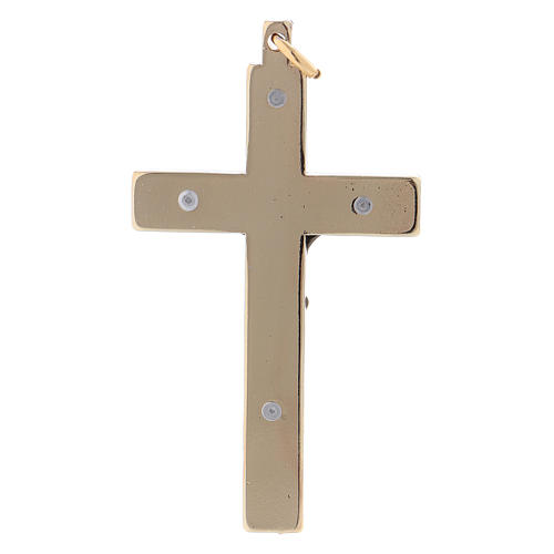 Steel Saint Benedict cross, 6x3 cm in smooth gold chrome 2