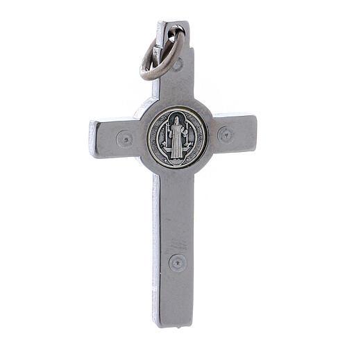 Kreuz von Sankt Benedikt aus Stahl, 4 x 2 cm