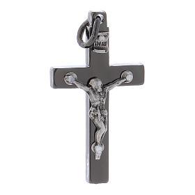 Cruz de San Benito de acero 4x2 cm cromo negro s1