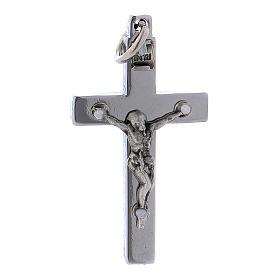 Croce di San Benedetto in acciaio 4x2 cm cromo lucido s1