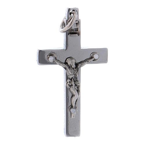 Croce di San Benedetto in acciaio 4x2 cm cromo lucido 1