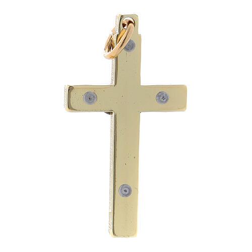 Glattes Kreuz von Sankt Benedikt aus Stahl mit vergoldeten Verchromungen, 4 x 2 cm