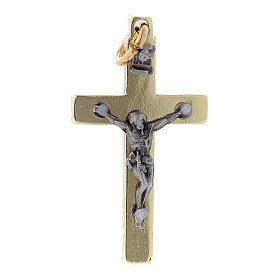 Cross of St. Benedict in steel with golden chrome 4x2 cm