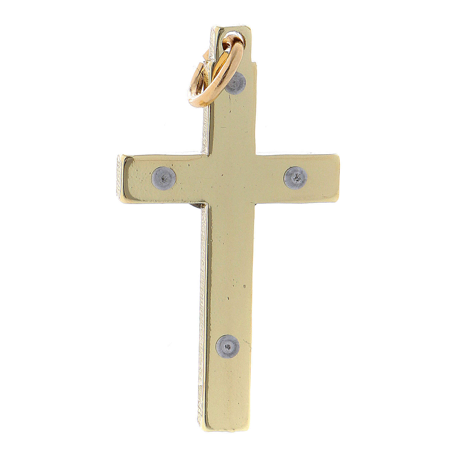 Croce in acciaio di San Benedetto liscia 4x2 cm cromo oro 4