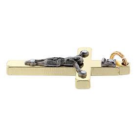 Croce in acciaio di San Benedetto liscia 4x2 cm cromo oro s3