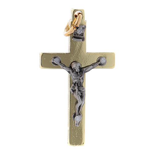 Croce in acciaio di San Benedetto liscia 4x2 cm cromo oro 1