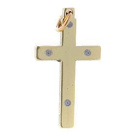 Steel cross of St. Benedict, 4x2 cm gold chrome s2