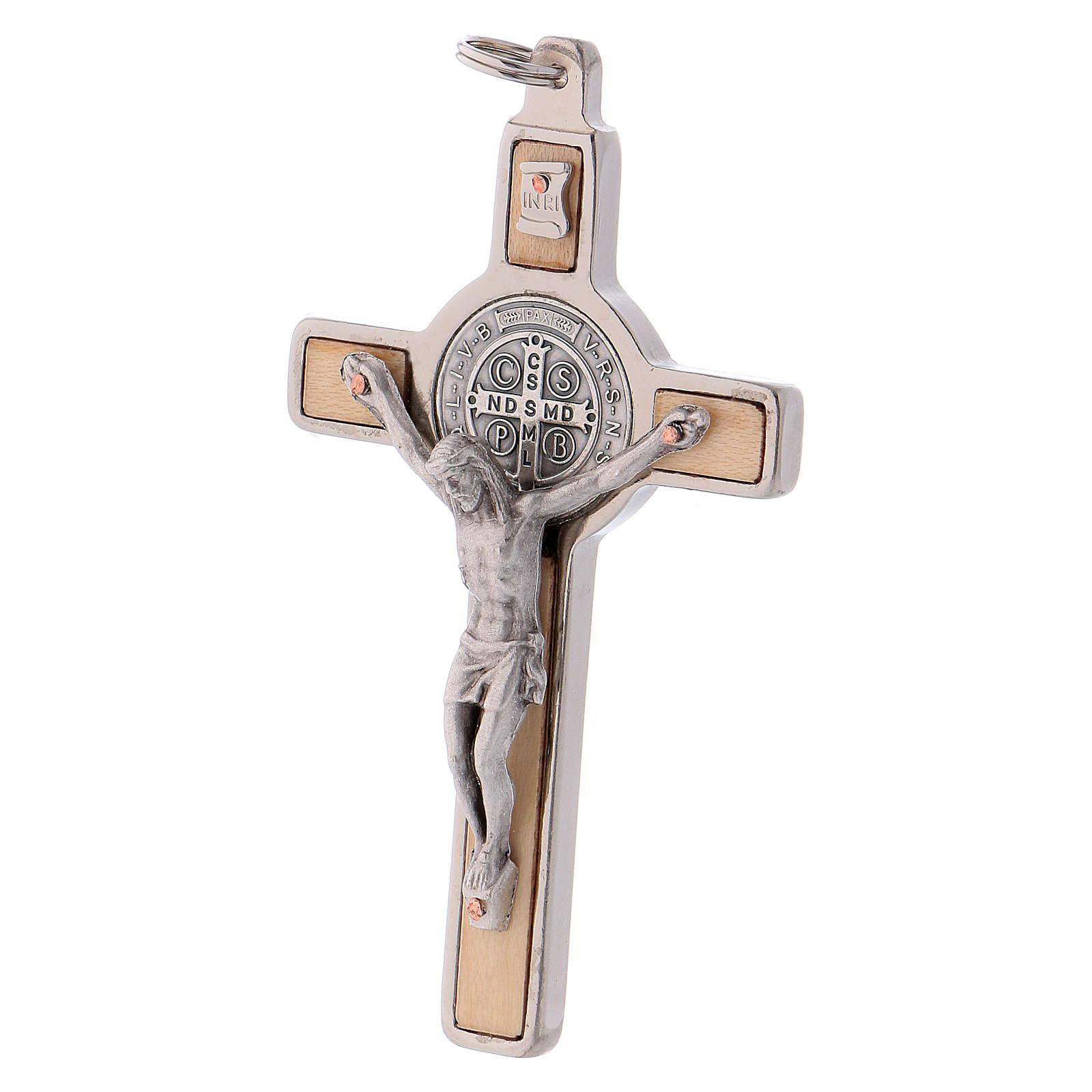 Croix Saint Benoît bois d'érable 8x4 cm 4