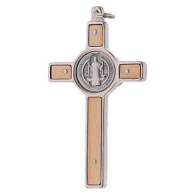 Croix Saint Benoît bois d'érable 8x4 cm s3