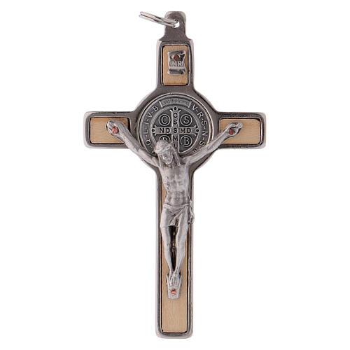 Croix Saint Benoît bois d'érable 8x4 cm 1