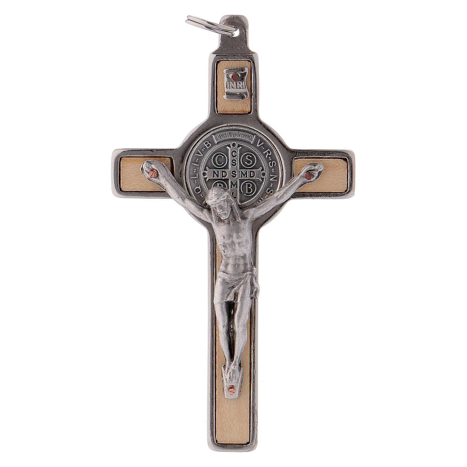 Cruz São Bento madeira de bordo 8x4 cm 4