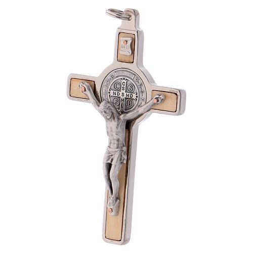 Cruz São Bento madeira de bordo 8x4 cm 2