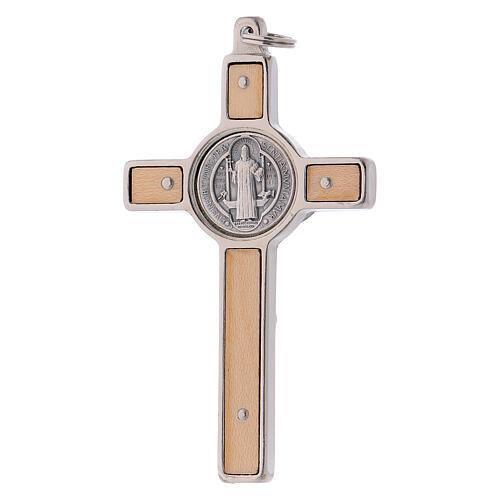 Cruz São Bento madeira de bordo 8x4 cm 3