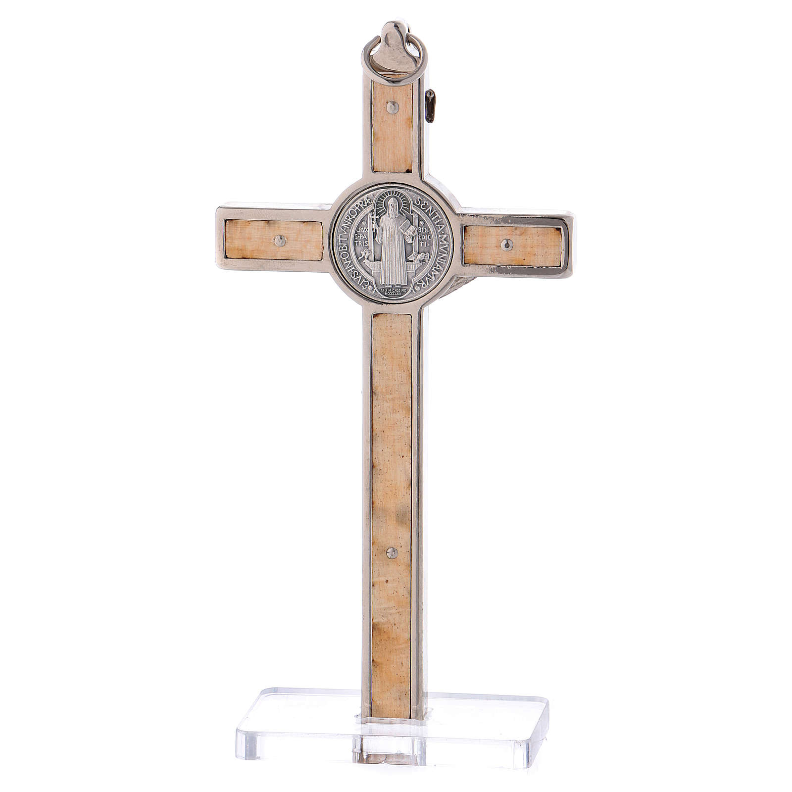 Cruz San Benito Madera de arce con base 12x6 cm 4