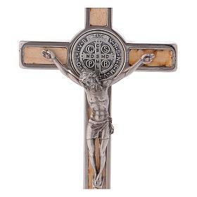Croce San Benedetto Legno d'acero con base 12x6 cm s2