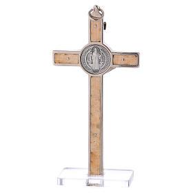 Croce San Benedetto Legno d'acero con base 12x6 cm s4