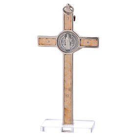 Krzyż Świętego Benedykta drewno klonowe z podstawą 12x6 cm s4