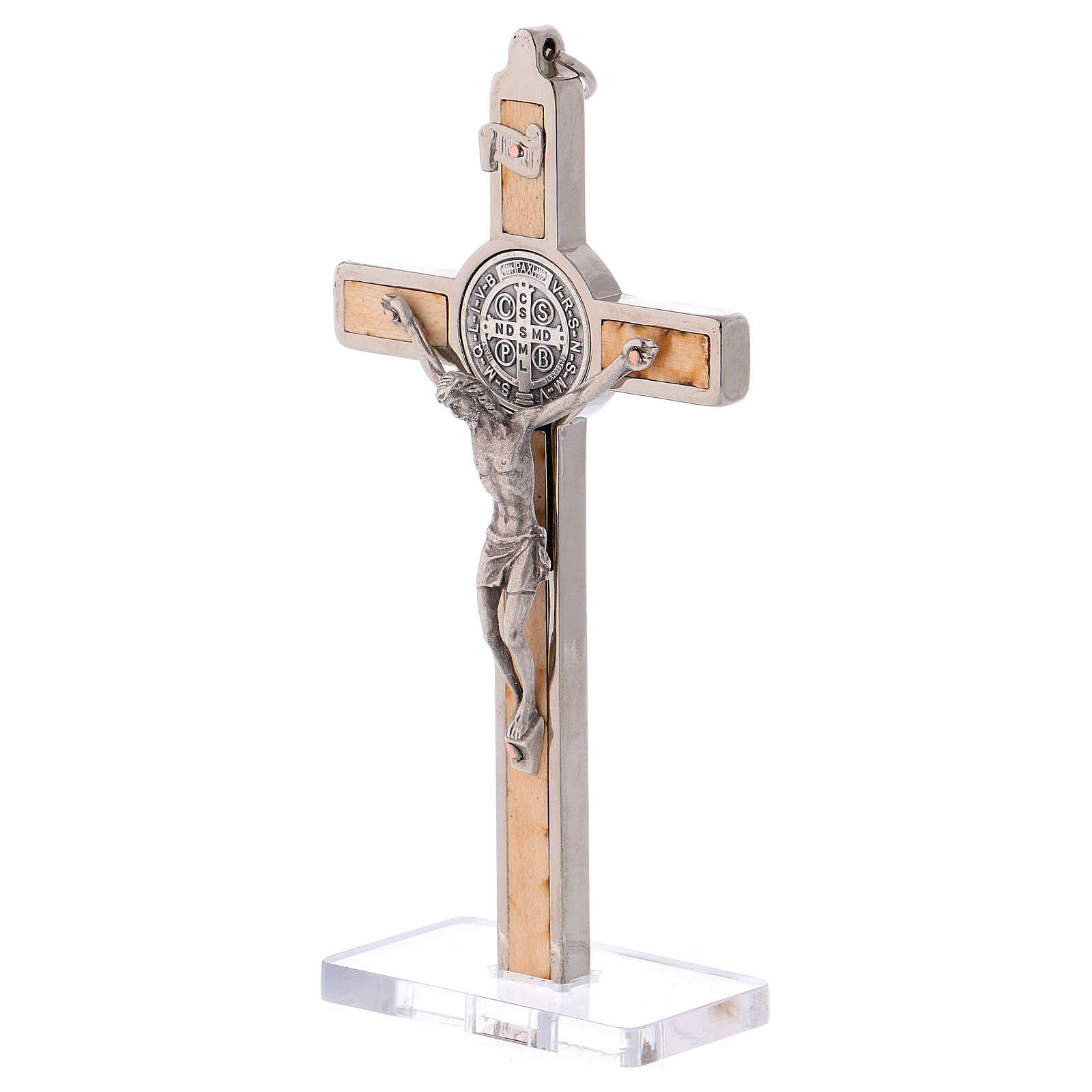 St Benedict Cross with base, in maple wood, 12x6 cm 4