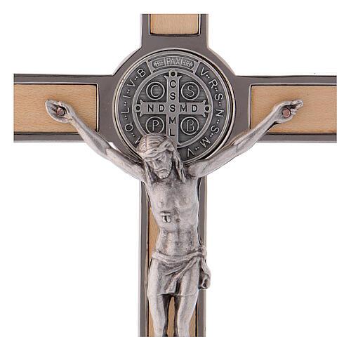 Kreuz von Sankt Benedikt aus Ahornholz, 16 x 8 cm