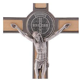 Croix Saint Benoît bois d'érable 16x8 cm s2