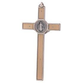 Croix Saint Benoît bois d'érable 16x8 cm s4