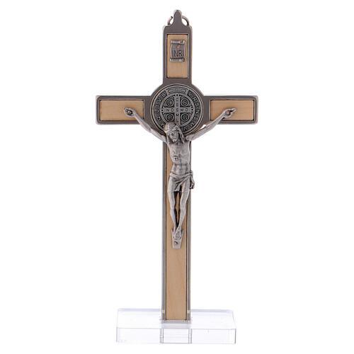 Kreuz von Sankt Benedikt aus Ahornholz mit Sockel, 16 x 8 cm