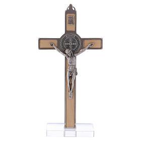 Cruz San Benito Madera de arce con base 16x8 cm