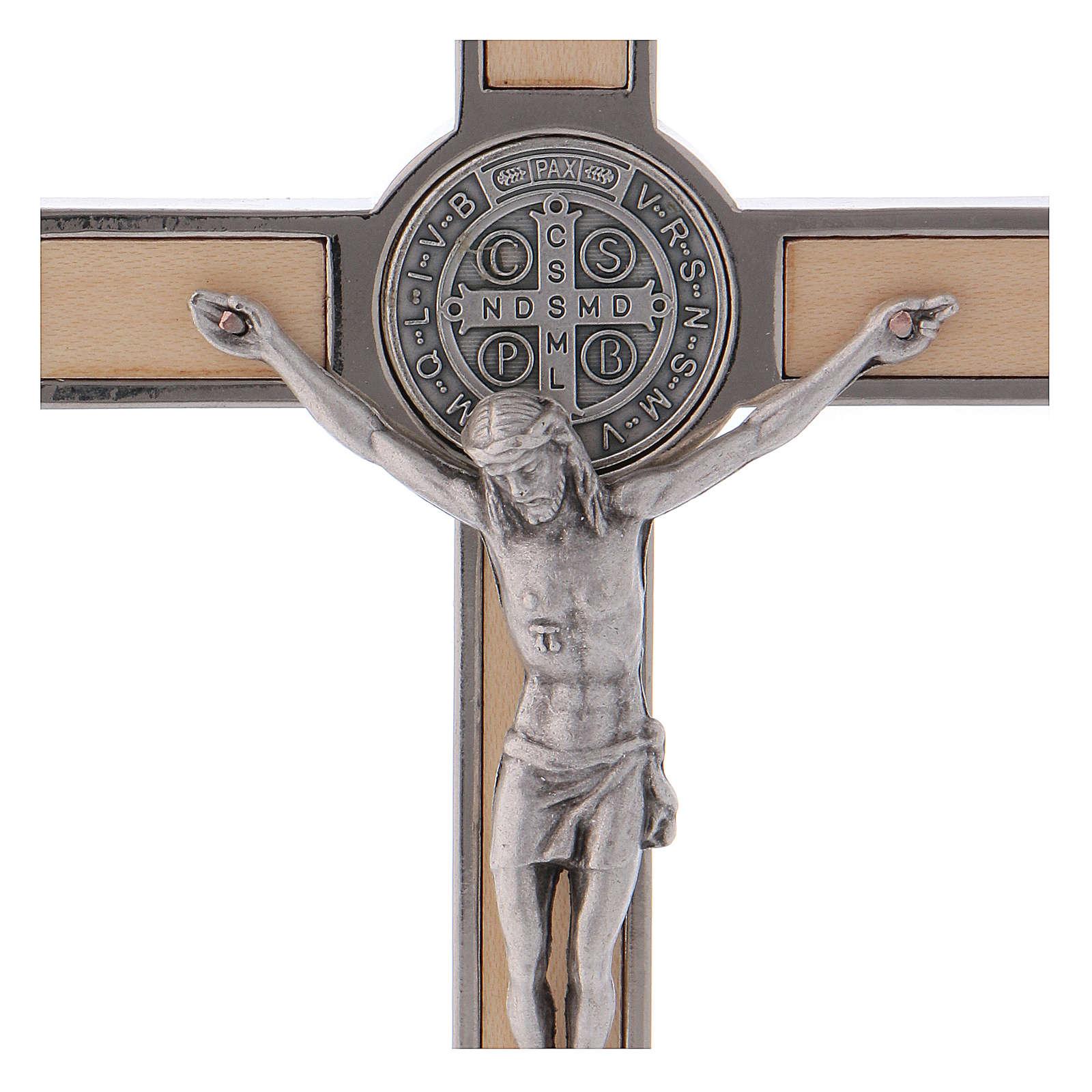 Croce San Benedetto Legno d'acero con base 16x8 cm 4