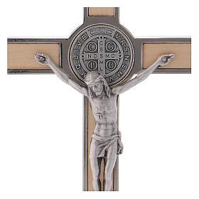 Croce San Benedetto Legno d'acero con base 16x8 cm s2
