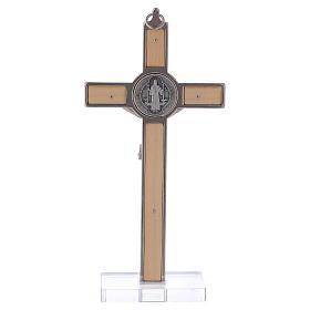 Croce San Benedetto Legno d'acero con base 16x8 cm s4